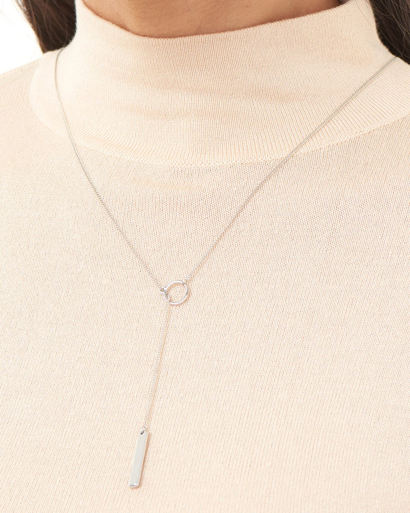 Lariat Bar Drop Necklace with CZ Stud Necklace Sterling Forever
