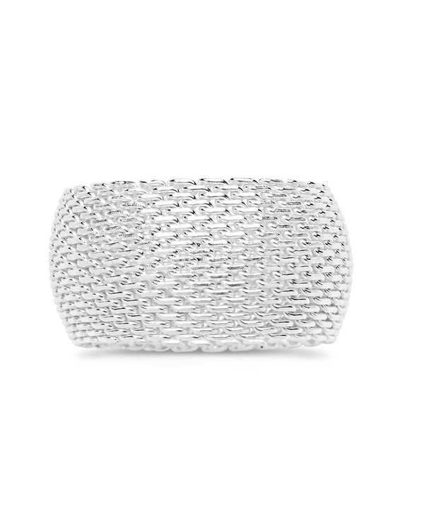 Sterling Silver Wide Mesh Ring - Sterling Forever