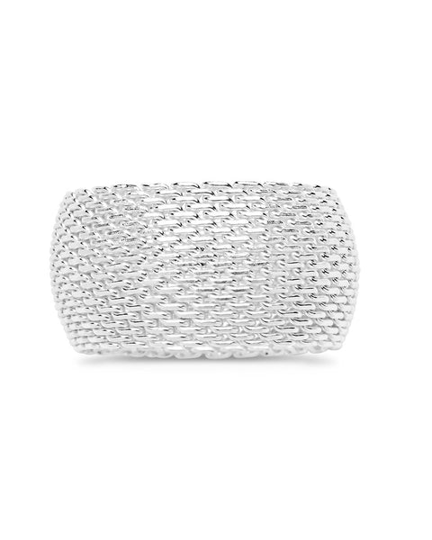 Sterling Silver Wide Mesh Ring