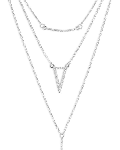 Layered Y Necklace with CZ Bar and Triangle - Sterling Forever