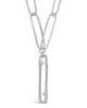 Polished Large Link Chain with CZ Safety Pin Charm - Sterling Forever