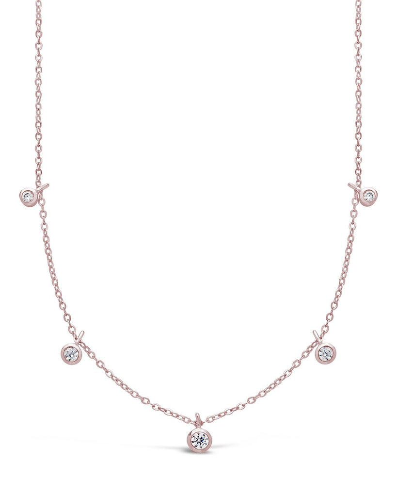 Sterling Silver CZ Dangling Bezel Necklace - Sterling Forever