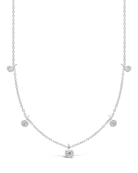 Sterling Silver CZ Dangling Bezel Necklace Necklace Sterling Forever Silver