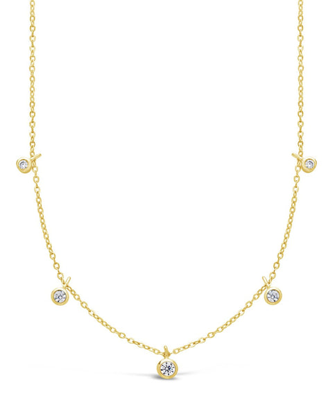 Sterling Silver CZ Dangling Bezel Necklace