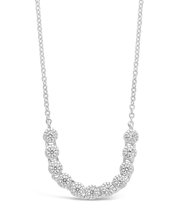 Sterling Silver Mini Bezel CZ Chain Necklace - Sterling Forever