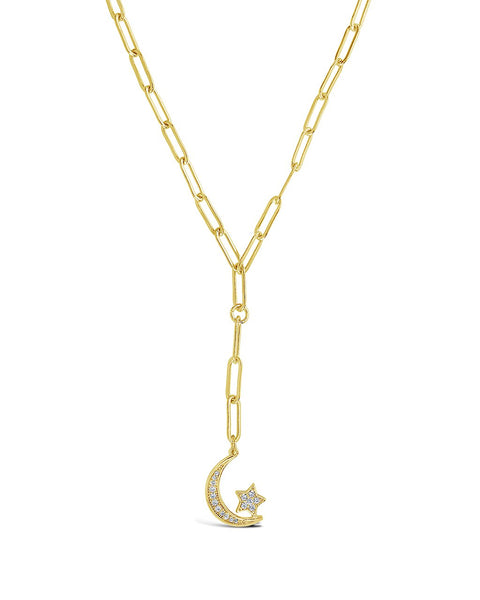 CZ Moon & Star Chain Link Necklace - Sterling Forever