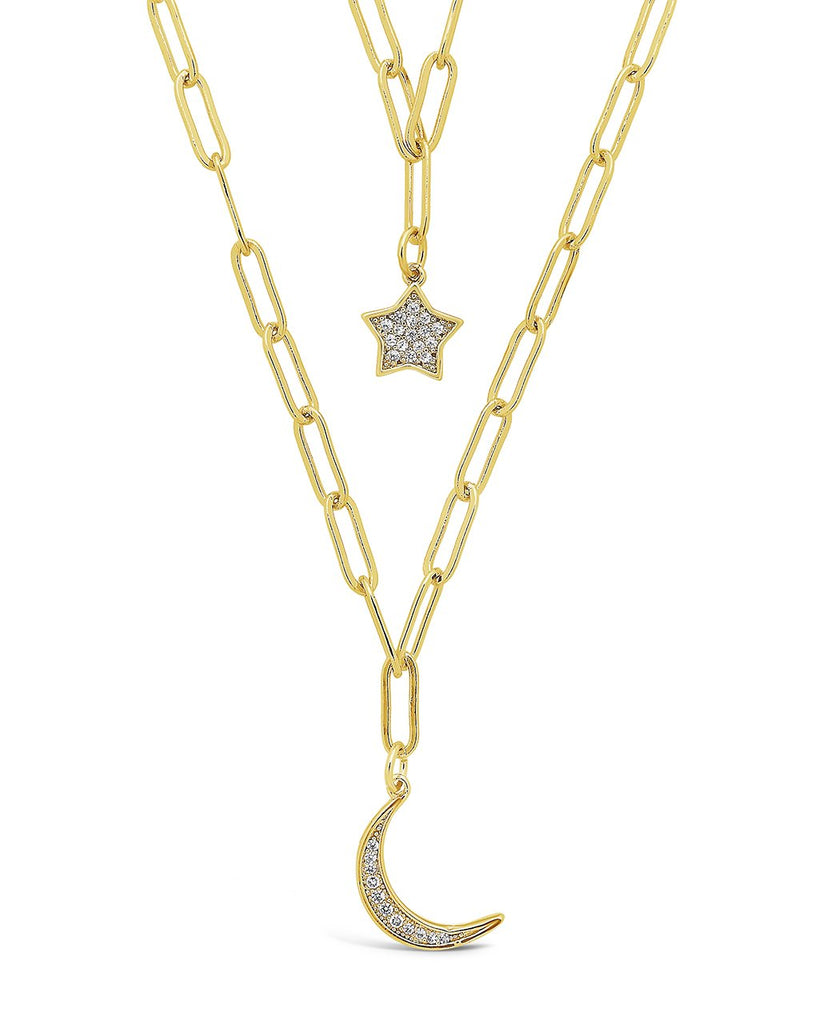 CZ Star & Moon Chain Link Layered Necklace Necklace Sterling Forever Gold