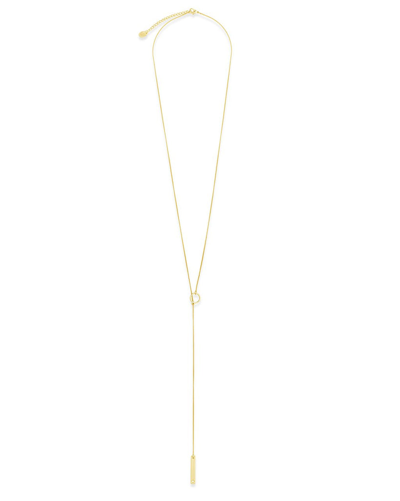 Lariat Bar Drop Necklace with CZ Stud - Sterling Forever