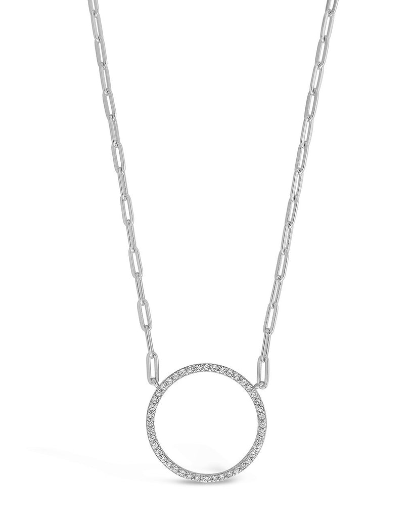 CZ Open Circle Chain Link Necklace - Sterling Forever
