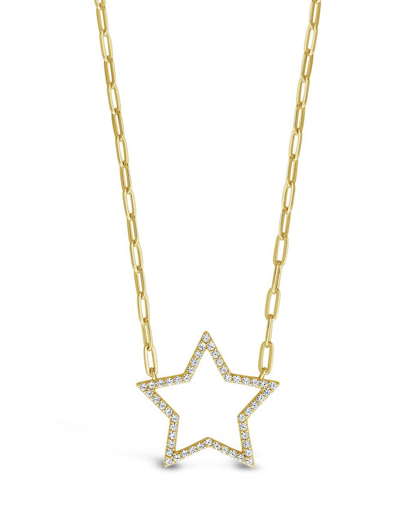 CZ Open Star Chain Link Pendant Necklace - Sterling Forever