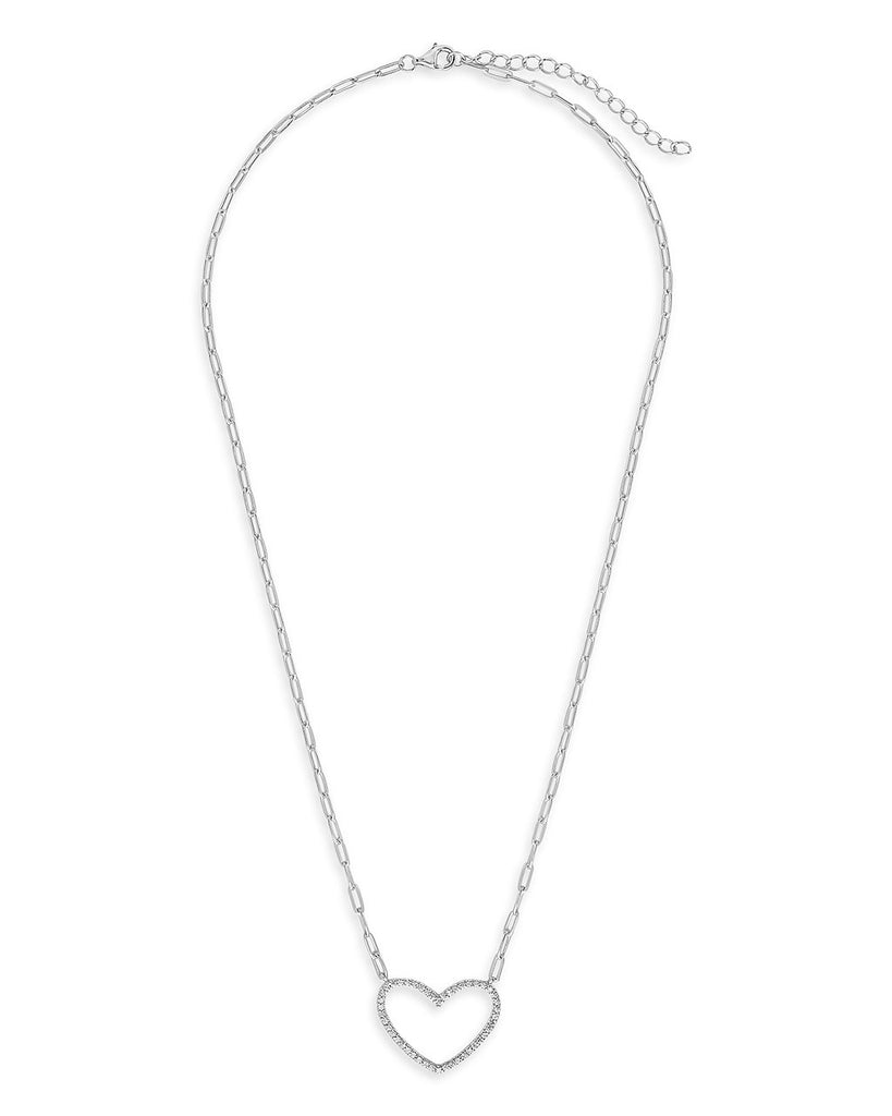 CZ Open Heart Chain Link Pendant Necklace - Sterling Forever