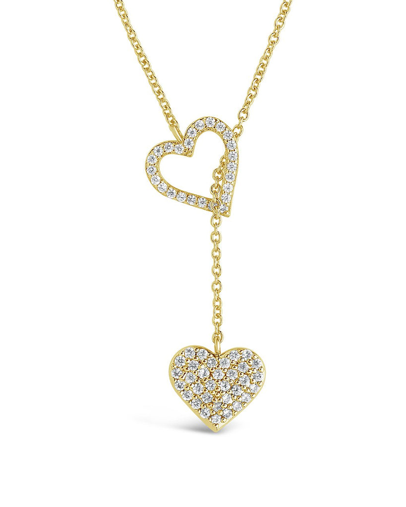Double CZ Heart Lariat Necklace - Sterling Forever