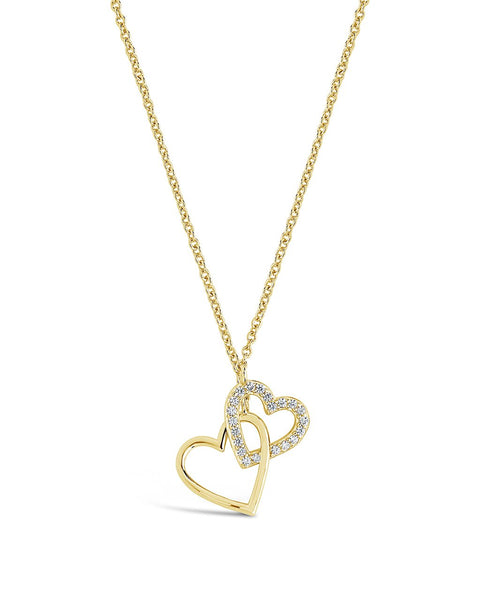 Interlocking Hearts Necklace Necklace Sterling Forever Gold