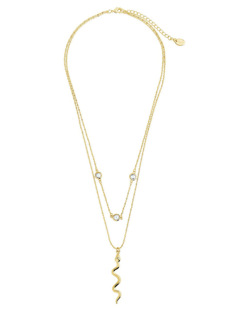 Layered Chain with Snake Pendant Necklace - Sterling Forever
