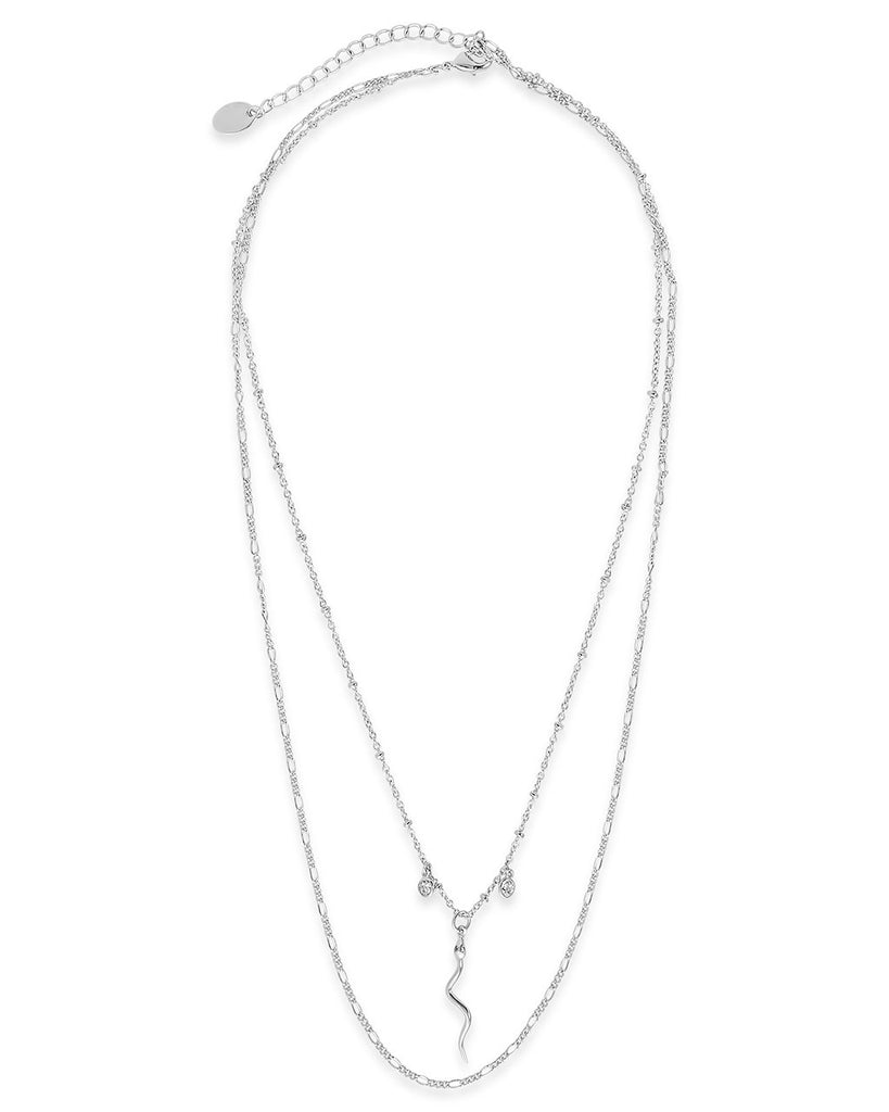 Snake & Bezel CZ Layered Necklace - Sterling Forever
