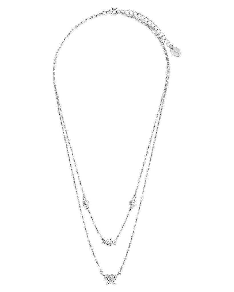 Butterfly & CZ Layered Necklace - Sterling Forever