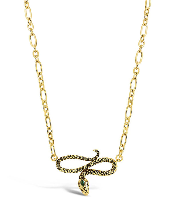 Linked Snake Pendant Necklace Sterling Forever Gold