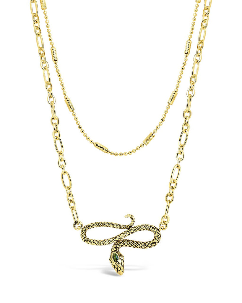 Linked Snake Layered Necklace Necklace Sterling Forever Gold