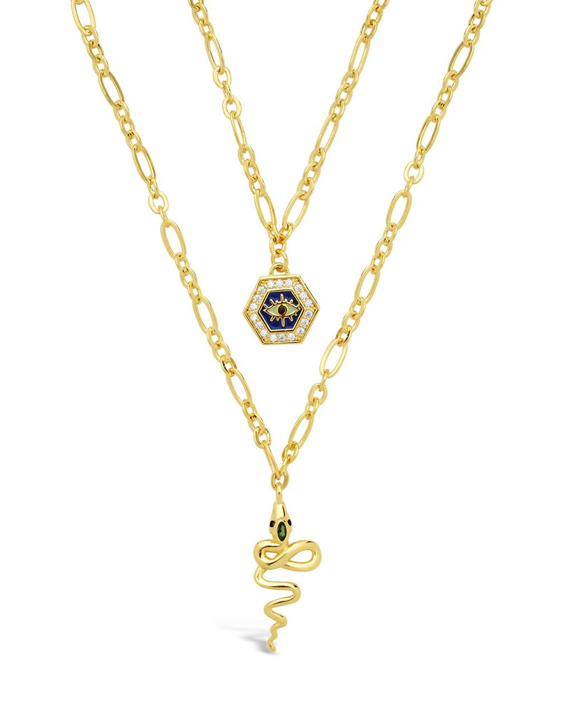 Hex & Snake Layered Necklace Necklace Sterling Forever Gold