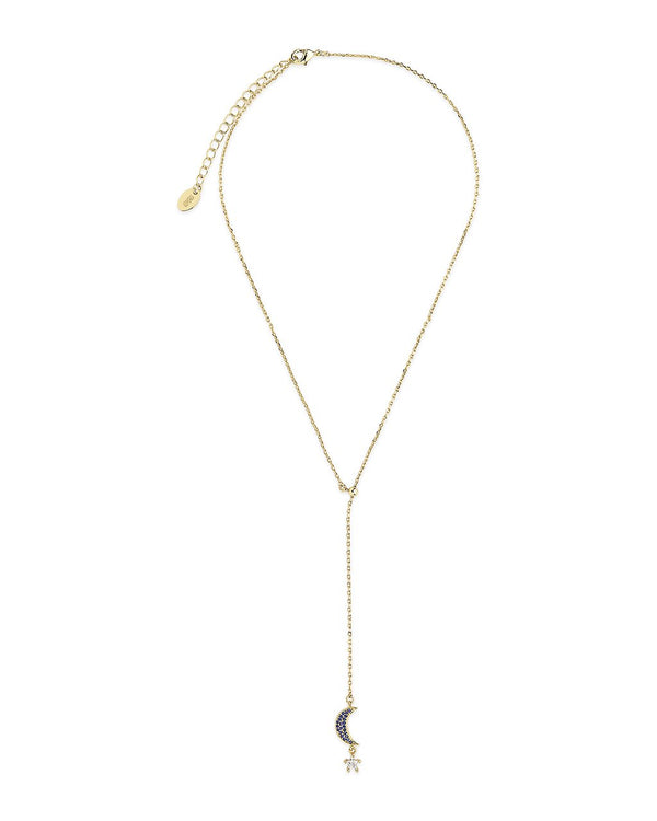 CZ Star & Moon Dangling Y Necklace Necklace Sterling Forever Gold