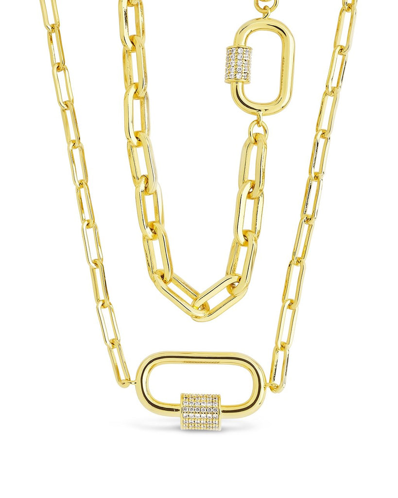 Double Carabiner Layered Necklace Necklace Sterling Forever Gold