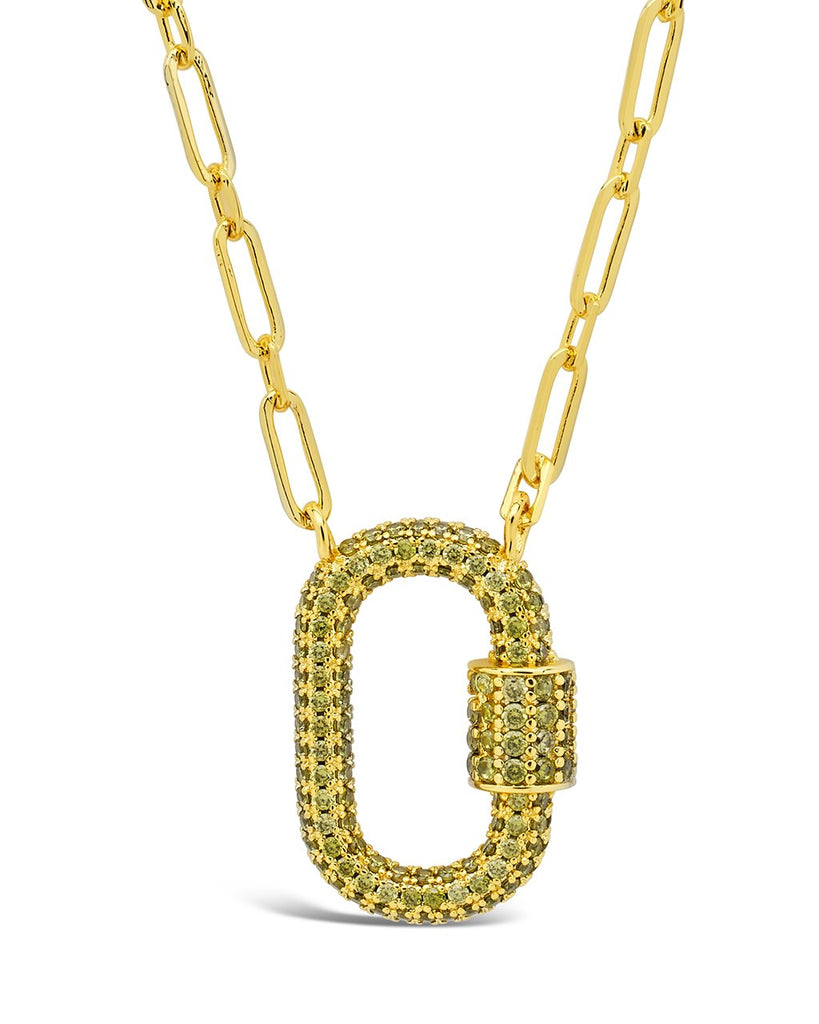 Pave CZ Carabiner Lock Necklace Necklace Sterling Forever Gold Green