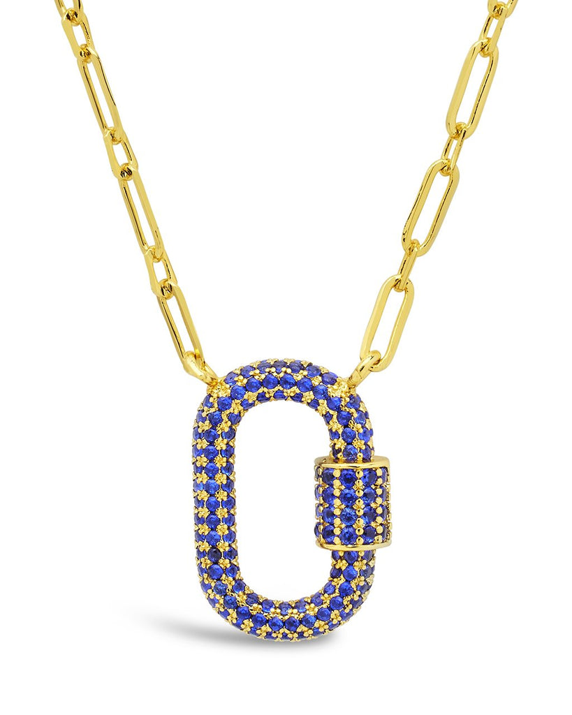 Pave CZ Carabiner Lock Necklace Necklace Sterling Forever Gold Blue