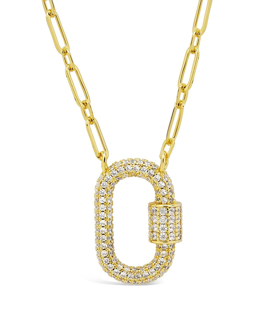 Pave CZ Carabiner Lock Necklace Necklace Sterling Forever Gold Clear