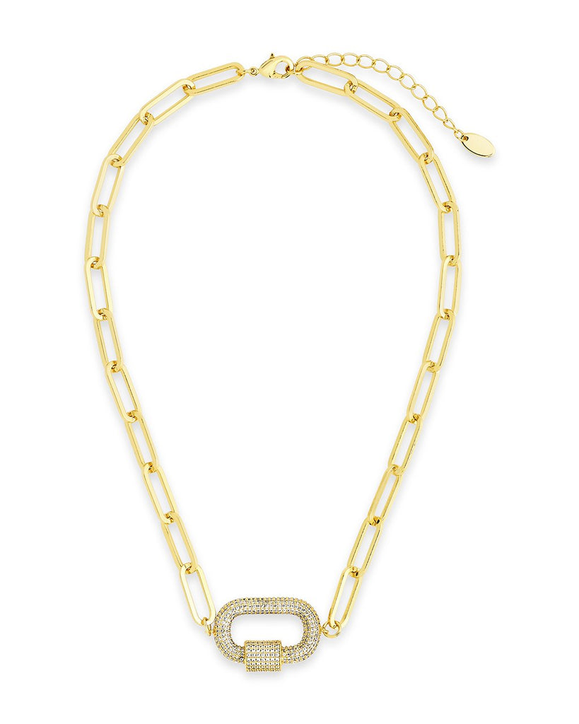 Pave CZ Carabiner Linked Lock Necklace Necklace Sterling Forever