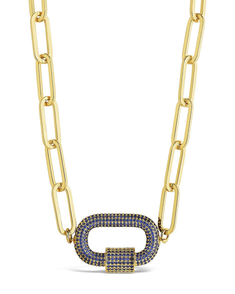 Pave CZ Carabiner Linked Lock Necklace Necklace Sterling Forever Gold Blue