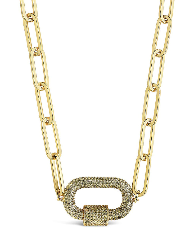 Pave CZ Carabiner Linked Lock Necklace Necklace Sterling Forever Gold Green