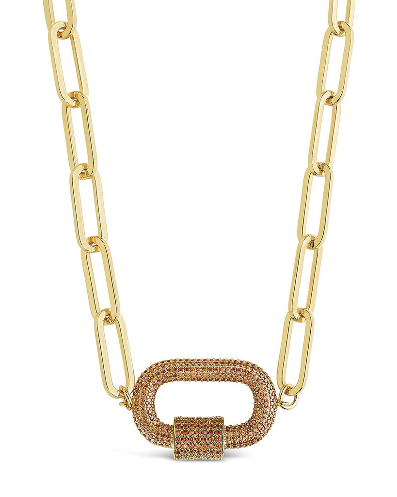 Pave CZ Carabiner Linked Lock Necklace Necklace Sterling Forever Gold Red