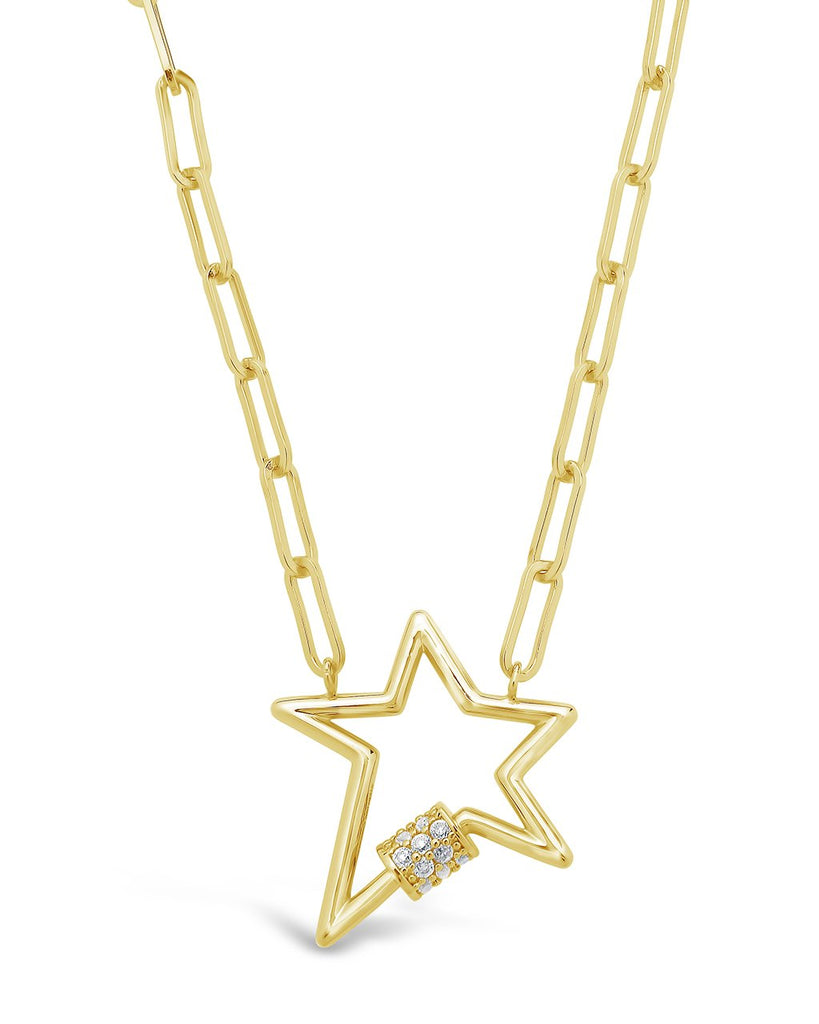 CZ Star Carabiner Necklace Necklace Sterling Forever Gold