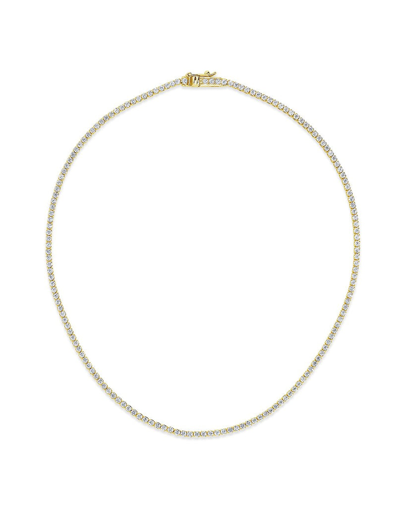 Bezel CZ Tennis Necklace Necklace Sterling Forever Gold 13""