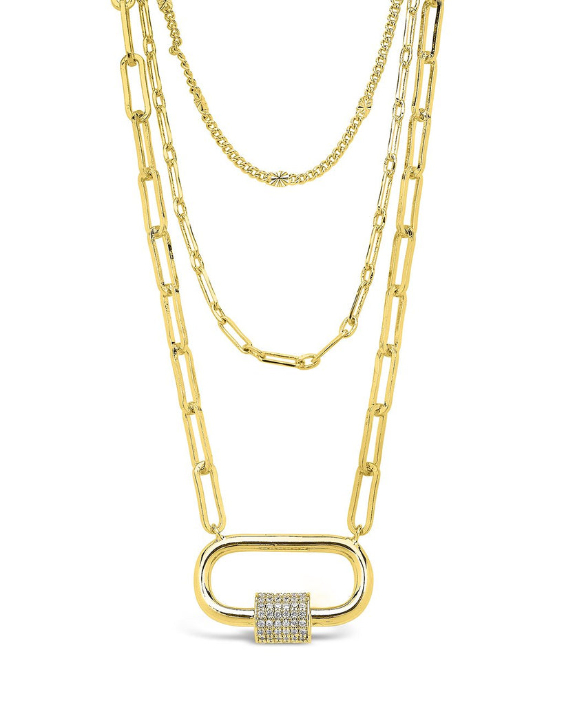 Three Layer CZ Carabiner Necklace Necklace Sterling Forever Gold