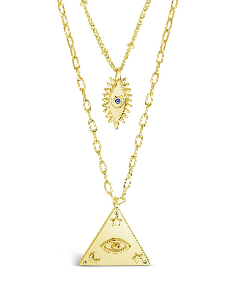 CZ Evil Eye Layered Necklace Set Necklace Sterling Forever Gold