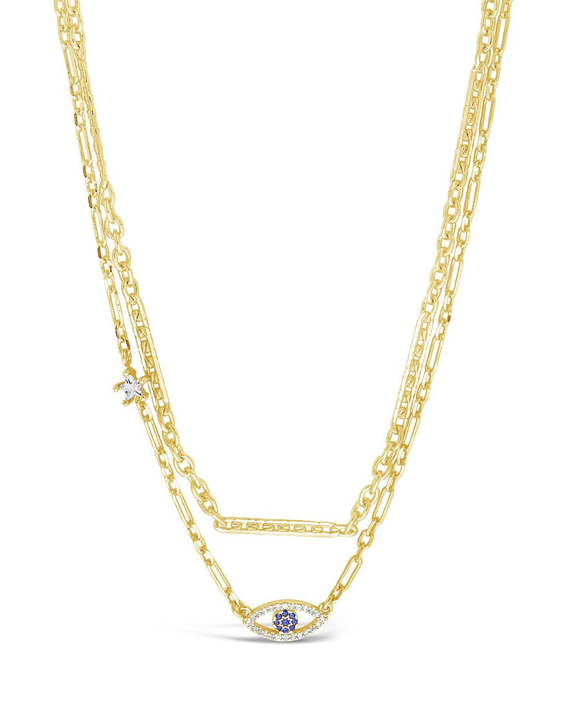 Stationed Star & Evil Eye Layered Necklace Necklace Sterling Forever Gold