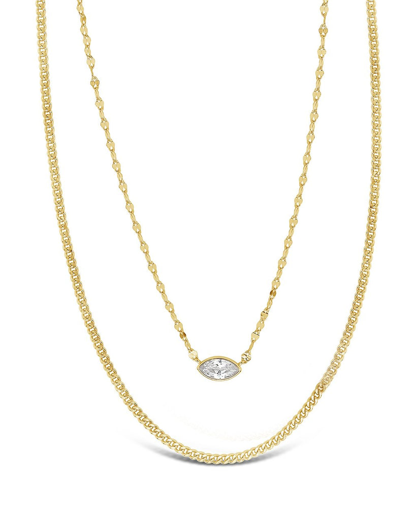 CZ Dainty Layered Necklace Necklace Sterling Forever Gold
