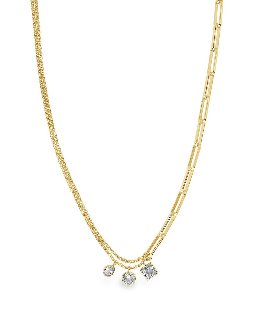 Delicate Link Necklace with CZ Charms Necklace Sterling Forever Gold