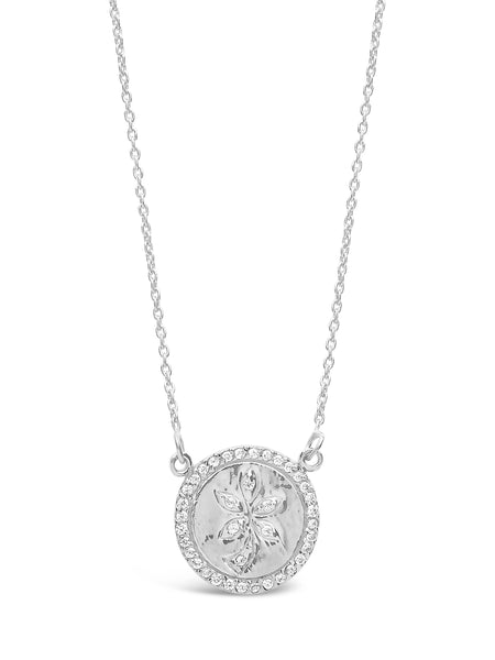 Sterling Silver CZ Leaf Pendant Necklace