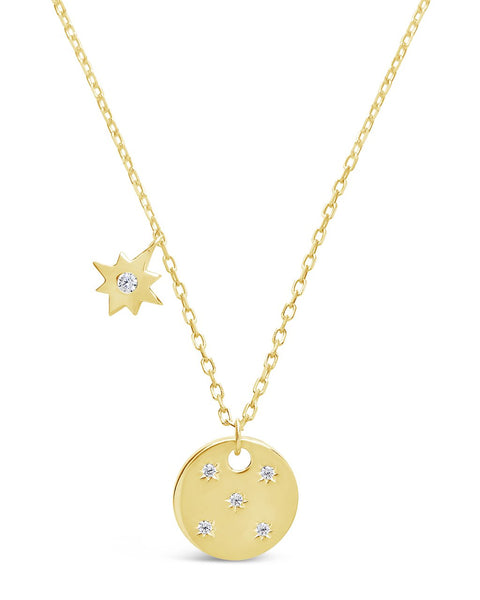 Northern Star Disk & Burst Necklace Necklace Sterling Forever Gold