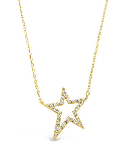Sterling Silver CZ Star Necklace Necklace Sterling Forever Gold