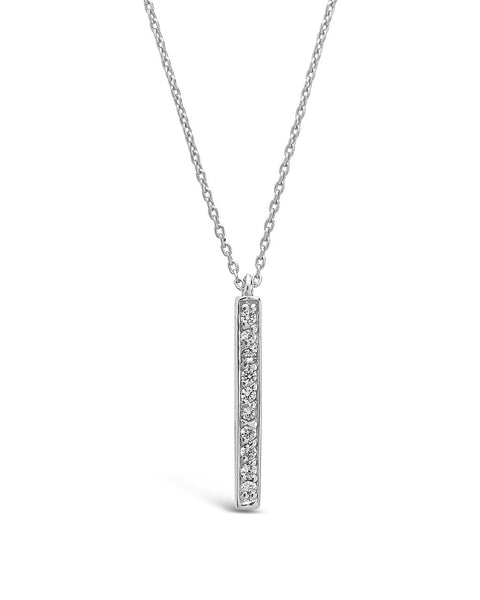 Sterling Silver CZ Vertical Bar Pendant Necklace Sterling Forever Silver