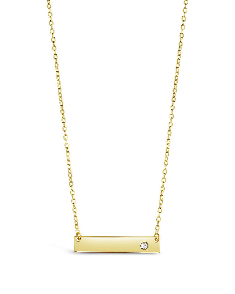 Sterling Silver CZ Studded Mini Bar Necklace - Sterling Forever