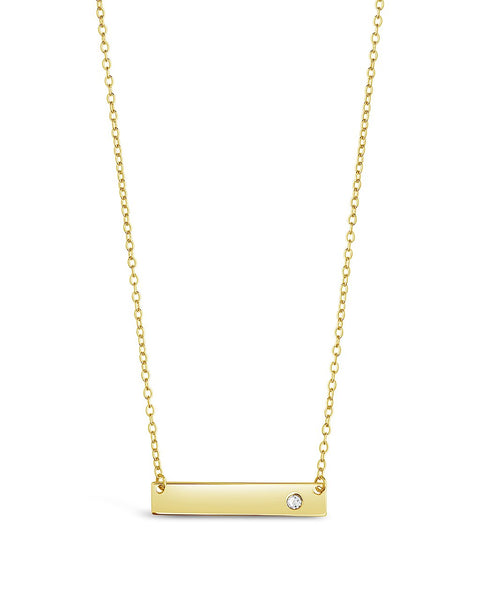 Sterling Silver CZ Studded Mini Bar Necklace Necklace Sterling Forever Gold