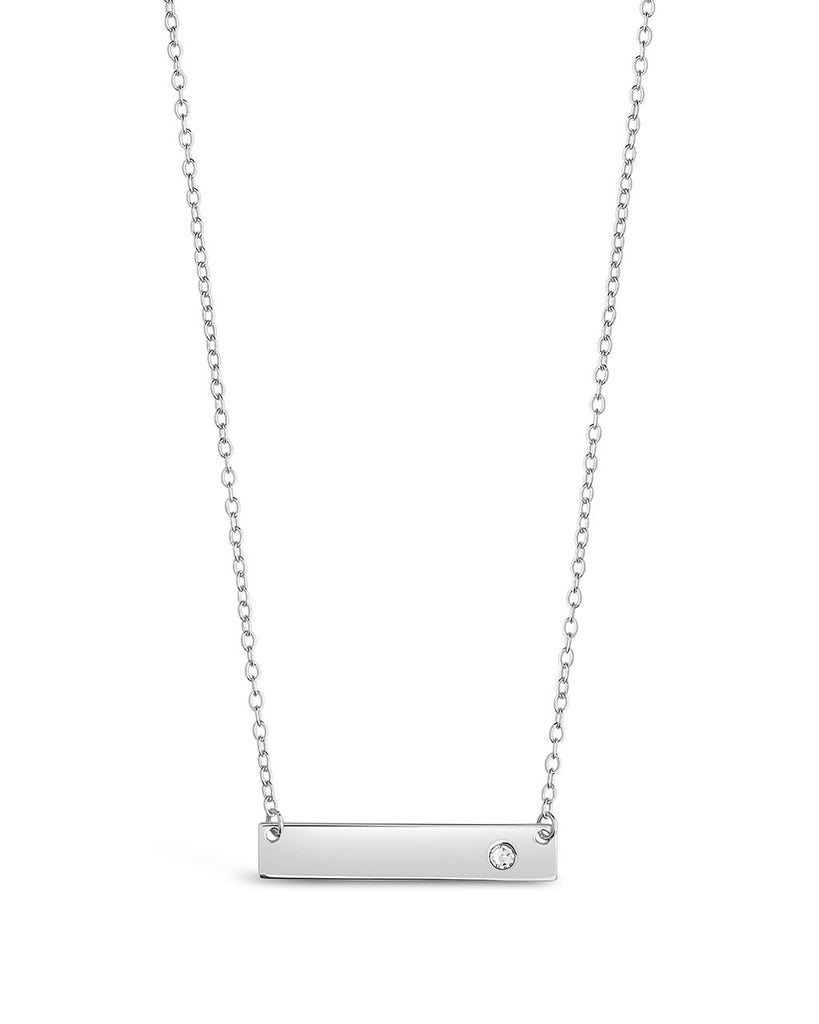 Sterling Silver CZ Studded Mini Bar Necklace Necklace Sterling Forever Silver