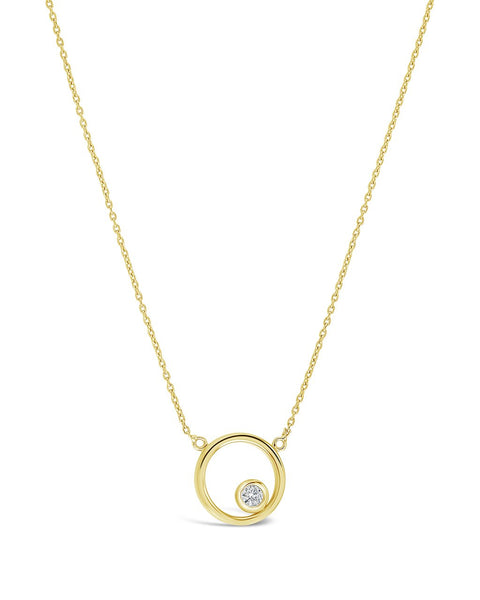 Sterling Silver Circle Pendant Necklace with CZ Stud Necklace Sterling Forever Gold