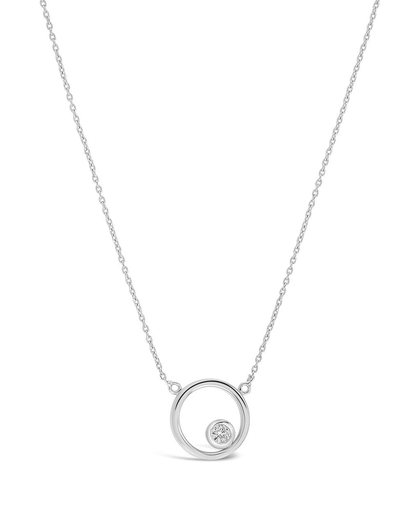 Sterling Silver Circle Pendant Necklace with CZ Stud - Sterling Forever
