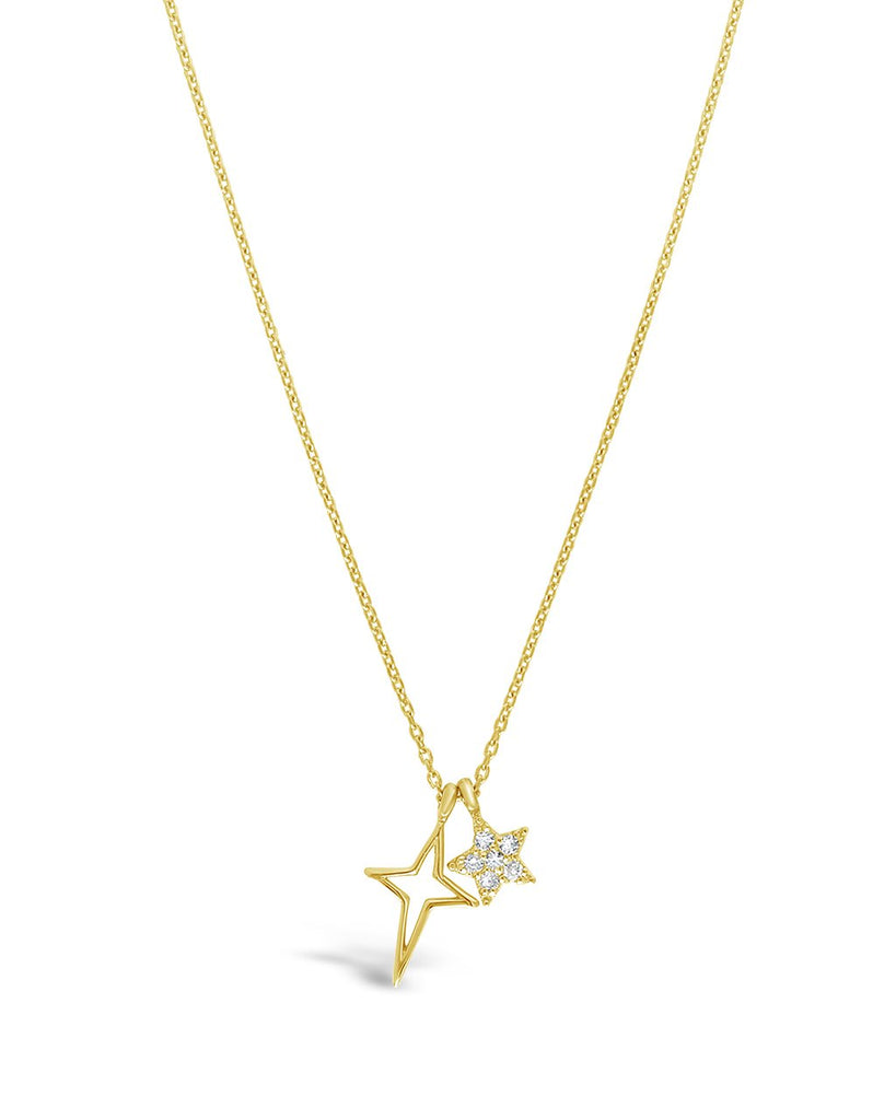 Sterling Silver CZ Star & Burst Charm Necklace - Sterling Forever