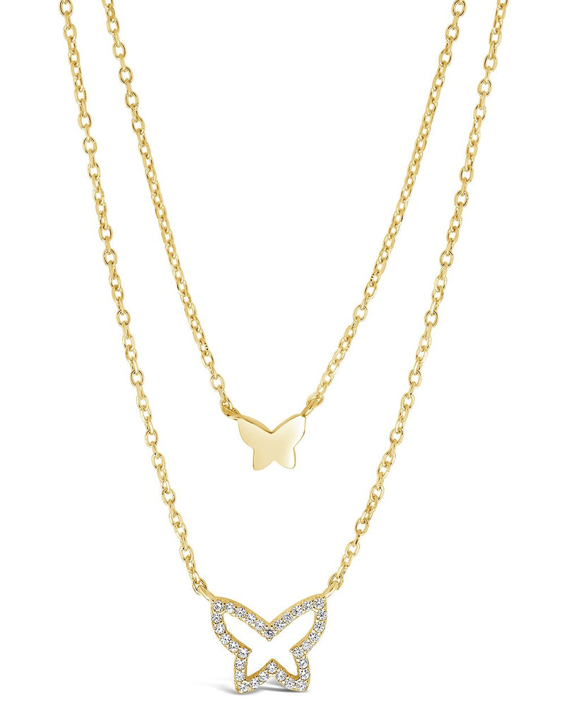 Sterling Silver CZ & Butterfly Layered Necklace Necklace Sterling Forever Gold
